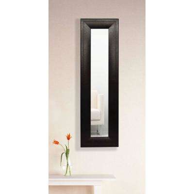 11.75 in. x 32.75 in. Espresso Leather Vanity Mirror Single Panel