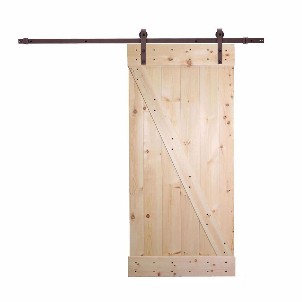 Calhome 36 In X 84 In Unfinished Knotty Pine Wood Barn Door With