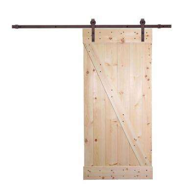 36 in. x 84 in. Unfinished Knotty Pine Wood Barn Door with Classic Bent Strap Bronze Sliding Door Hardware Kit