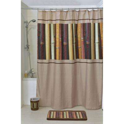 Java Polyester Printed Fabric Shower Curtain Multicolored