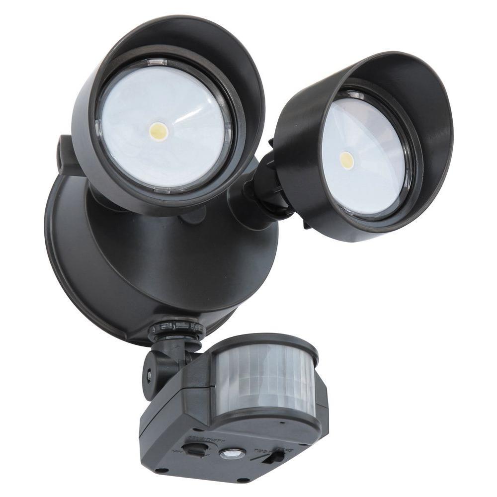 Contractor Select OLF 25-Watt 180 Deg. Bronze Motion Activated Outdoor Integrated LED 2-Head Flood Light