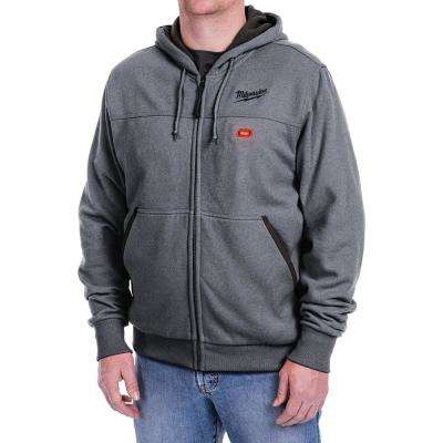 Men's Large M12 12-Volt Lithium-Ion Cordless Gray Heated Hoodie Kit with (1) 1.5Ah Battery and Charger