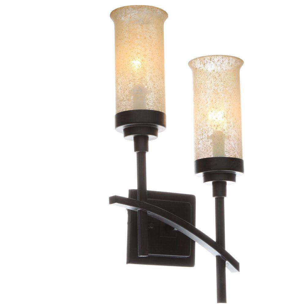 hampton bay 2-light iron oxide sconce with scavo glass shades