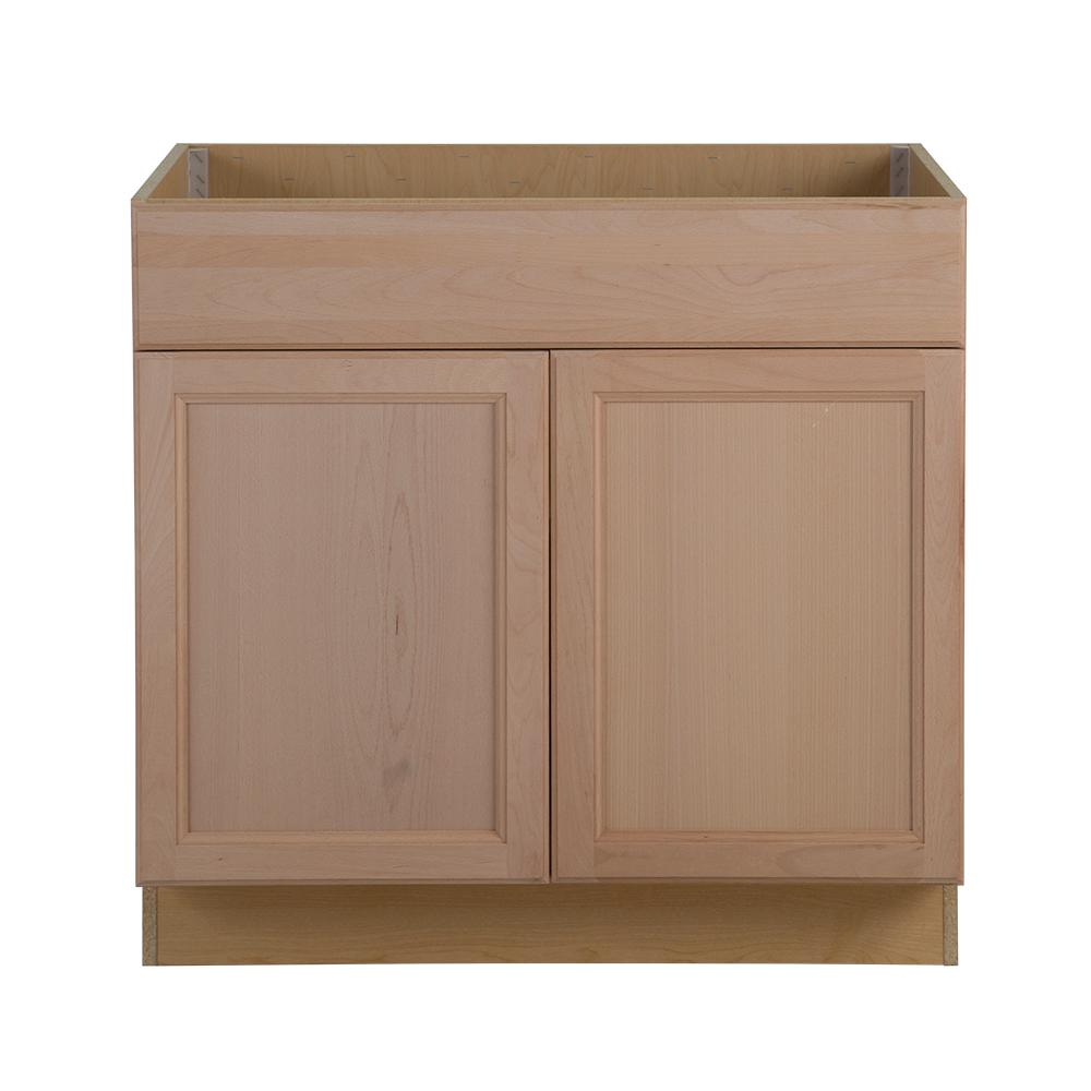 Assembled 36 in  x 34 5 in  x 24 63 in  Easthaven Sink Base Cabinet. Unfinished Wood   Kitchen Cabinets   Kitchen   The Home Depot