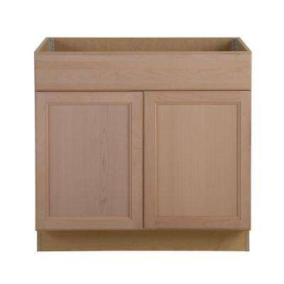 Assembled 36 in. x 34.5 in. x 24.63 in. Easthaven Sink Base Cabinet with False Drawer Front in Unfinished German Beech