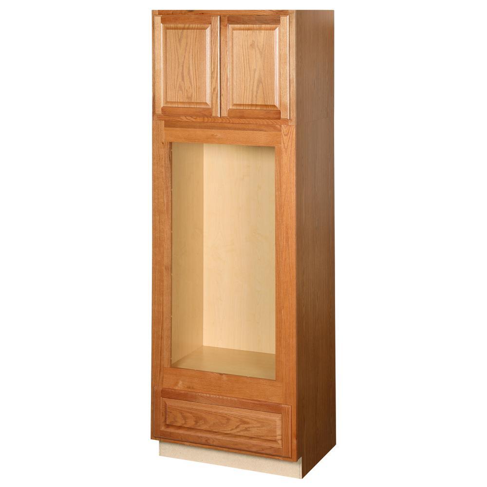 Hampton Assembled 33 x 96 x 24 in. Pantry/Utility Double Oven Kitchen Cabinet in Medium Oak
