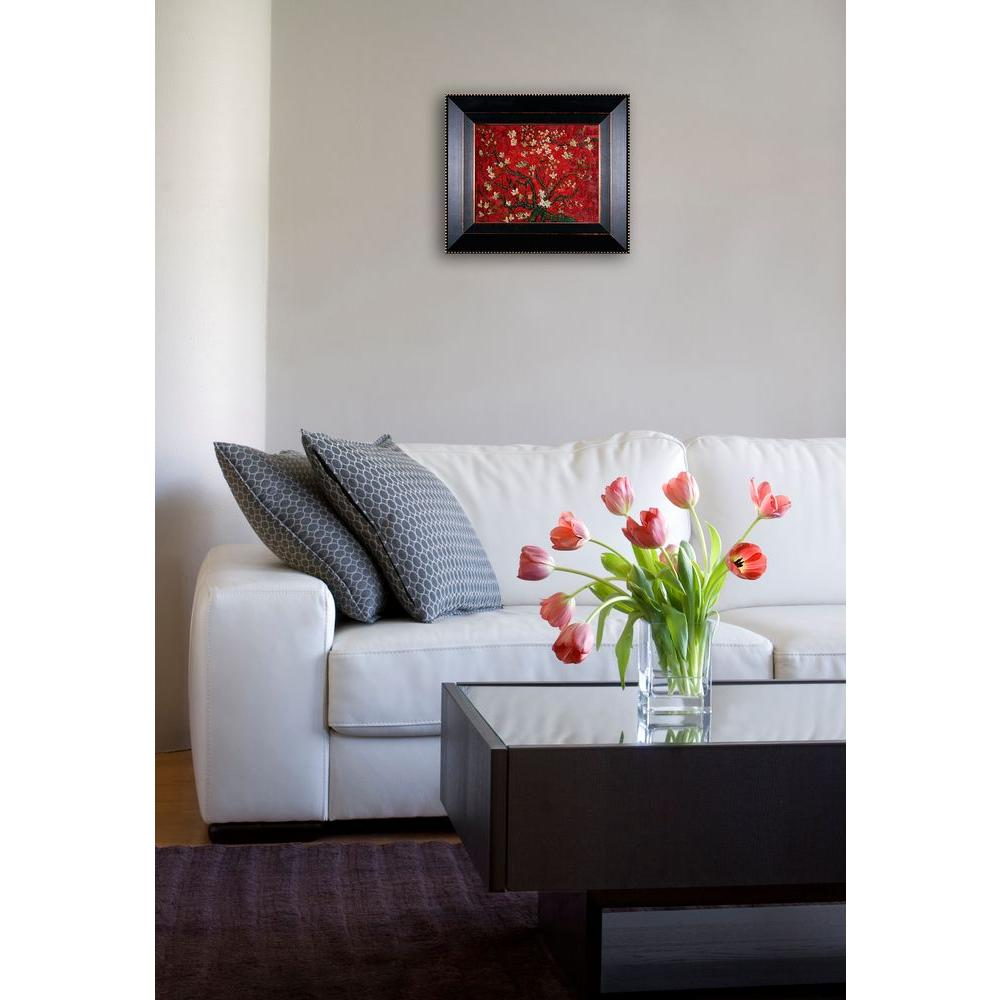 null 8 in. x 10 in. Branches of an Almond Tree in Blossom (Interpretation in Red) Hand-Painted Framed Oil Painting