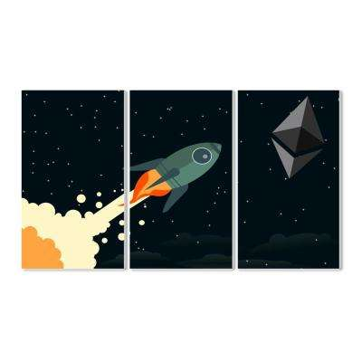 "11 in. x 17 in. ""Ethereum To The Moon Graphic"" by In House Artist Printed Wood Wall Art"