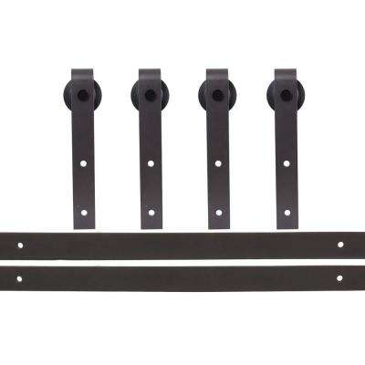 120 in. Antique Bronze Bent Strap Sliding Barn Style Door Hardware Track (2-Set)