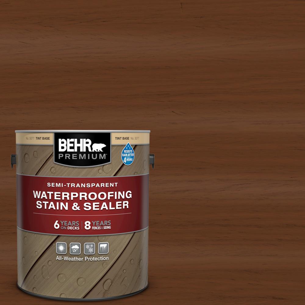 BEHR PREMIUM 1 gal. #ST-110 Chestnut Semi-Transparent Waterproofing Exterior Wood Stain and Sealer