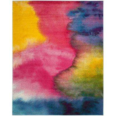 Watercolor Green/Fuchsia 8 ft. x 10 ft. Area Rug