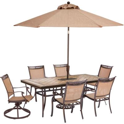 Fontana 7-Piece Aluminum Rectangular Outdoor Dining Set with Tile-Top Table, 2 Swivels, Umbrella and Base
