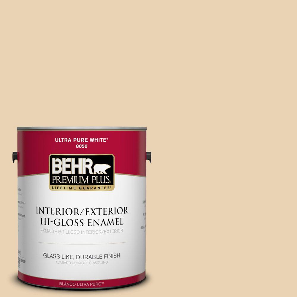 BEHR Premium Plus 1-gal. #S300-2 Powdered Gold Hi-Gloss Enamel Interior/Exterior Paint