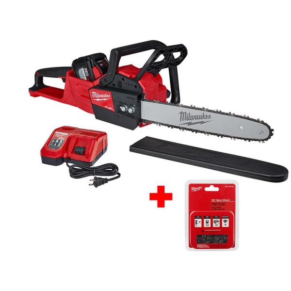 M18 FUEL 16 in. 18-Volt Lithium-Ion Battery Brushless Cordless Chainsaw Kit with 12.0Ah Battery, Extra 16 in. Saw Chain