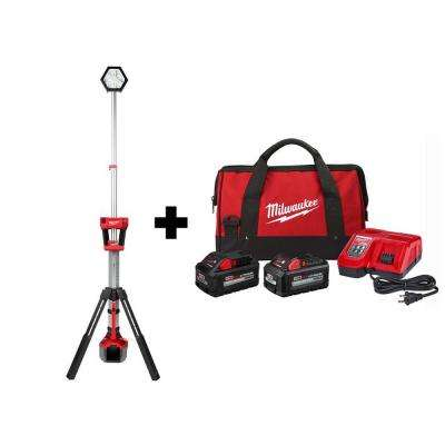 M18 18-Volt Lithium-Ion Cordless Rocket Dual Power Tower Light W/ 8.0 Ah & 6.0 Ah HIGH OUTPUT Battery, Bag & Charger