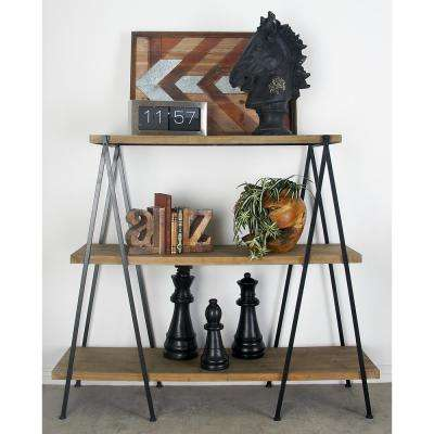 Light Brown 3-Tier Shelf with Polished Black Iron Legs