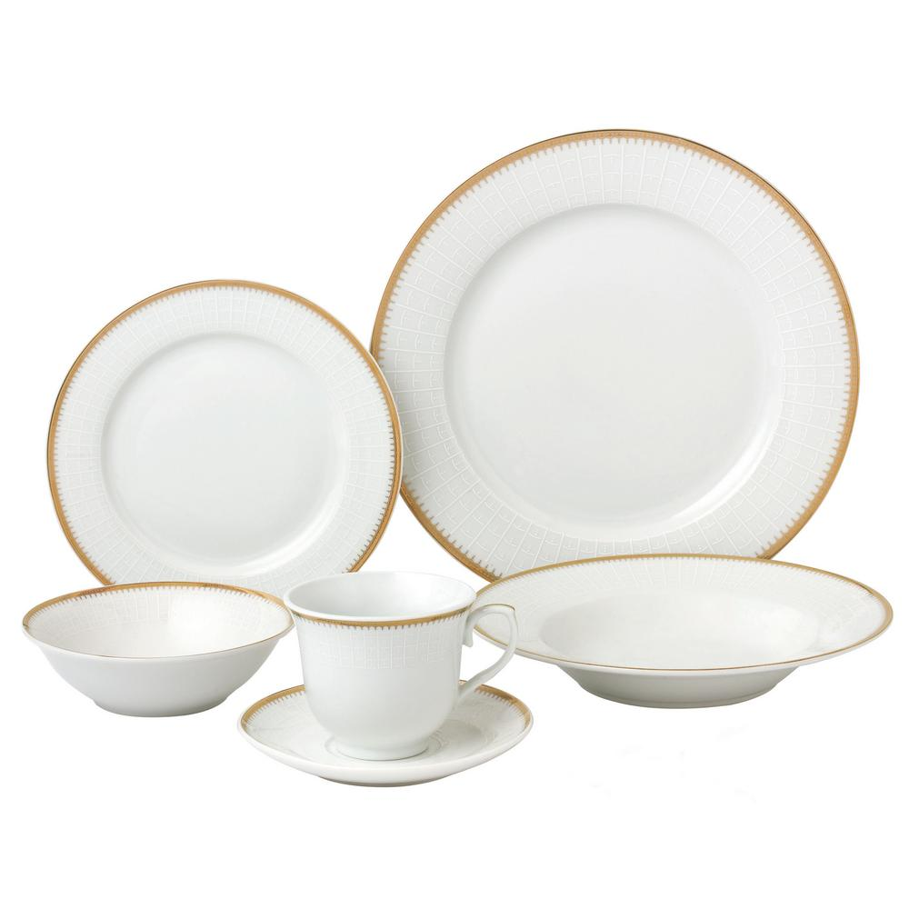 Lorren Home Trends 24-Piece Gold Porcelain Dinnerware Service for 4-Georgette  sc 1 st  Home Depot & Lorren Home Trends 24-Piece Gold Porcelain Dinnerware Service for 4 ...