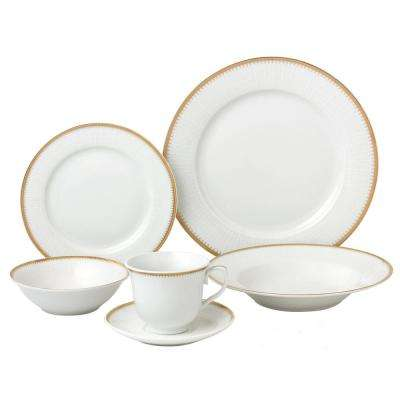 24-Piece Gold Porcelain Dinnerware Service for 4-Georgette