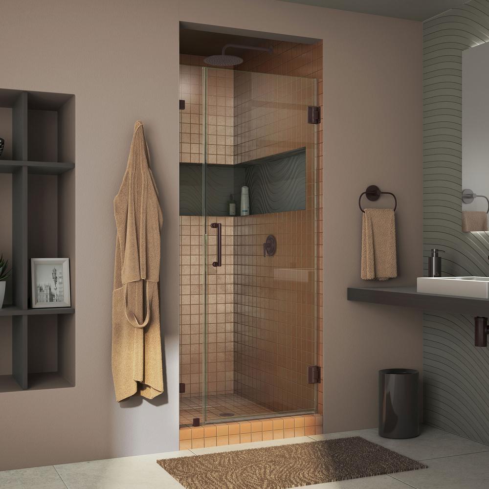 DreamLine Unidoor Lux 33 in. x 72 in. Frameless Pivot Shower Door in Oil Rubbed Bronze with Handle