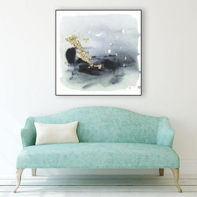 """30 in. x 30 in. """"Cerulean & Gold II"""" by Victoria Borges Framed Wall Art"""