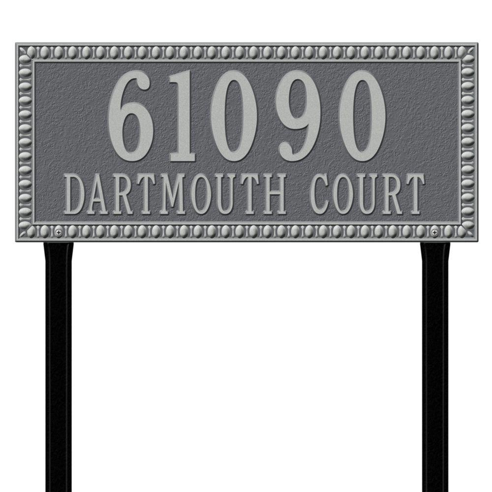 Egg and Dart Rectangular Pewter/Silver Estate Lawn Two Line Address Plaque