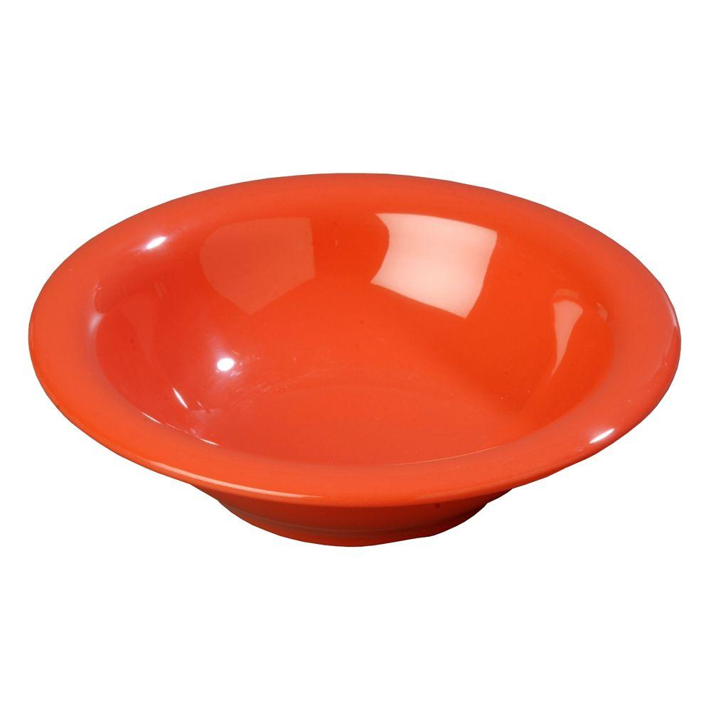 Carlisle 12.9 oz., 7.25 in. Diameter Melamine Rimmed Bowl in Sunset Orange (Case of 24)