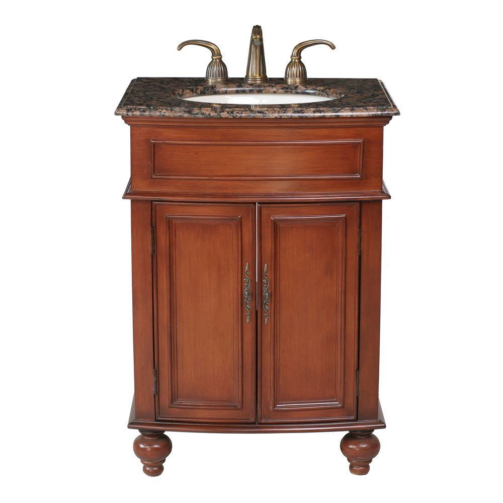 stufurhome Prince 26 in. Vanity in Dark Cherry with Granite Vanity Top in Baltic Brown with White Under-Mount Sink