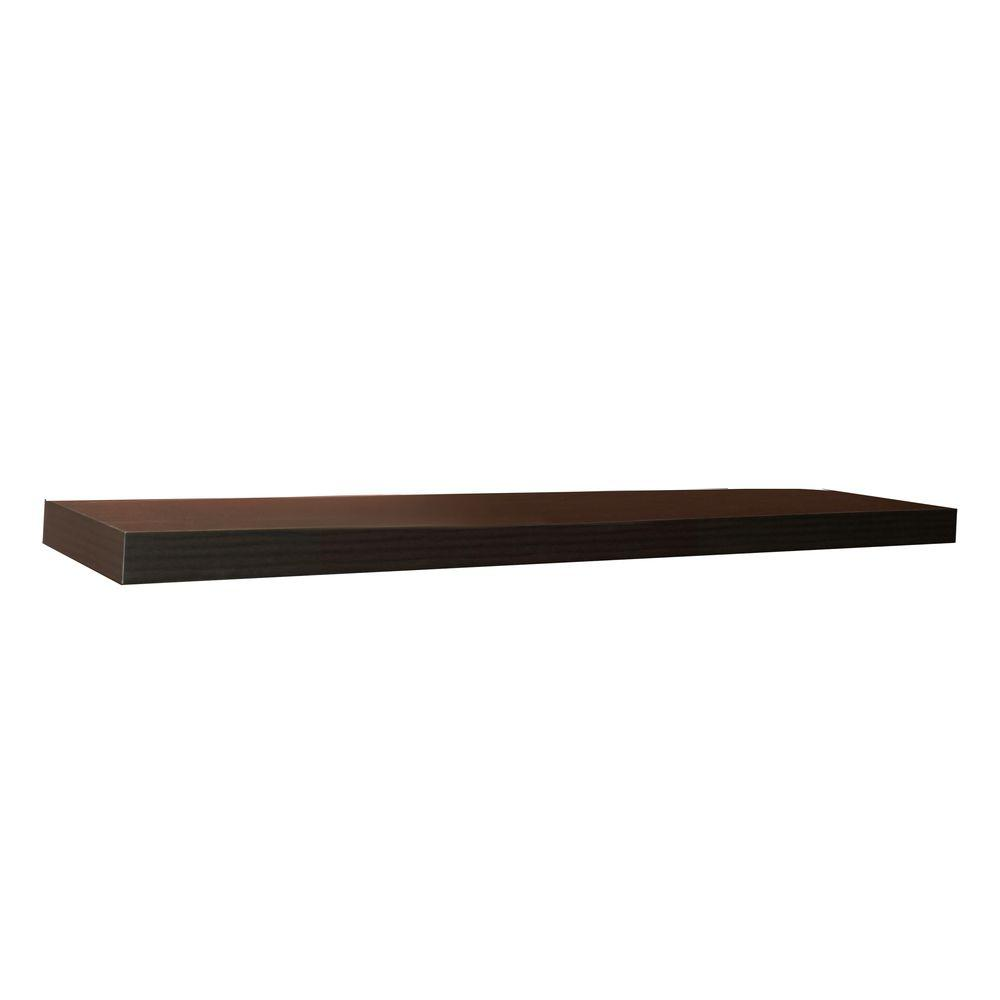 inPlace 60 in. W x 10.2 in. D x 2 in. H Espresso MDF Large Floating Wall Shelf
