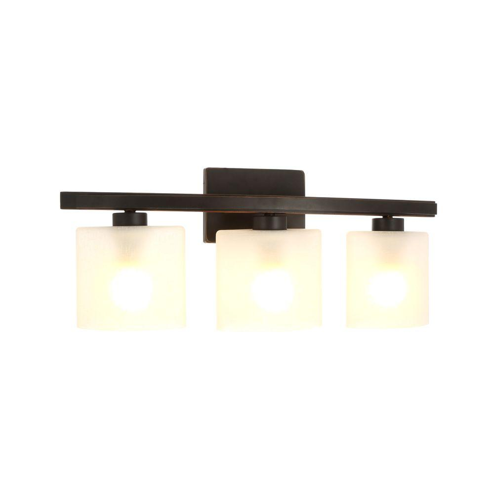 Hampton Bay Ettrick 3 Light Oil Rubbed Bronze Sconce With Hand Pained Glass Shades Dth1313a 2