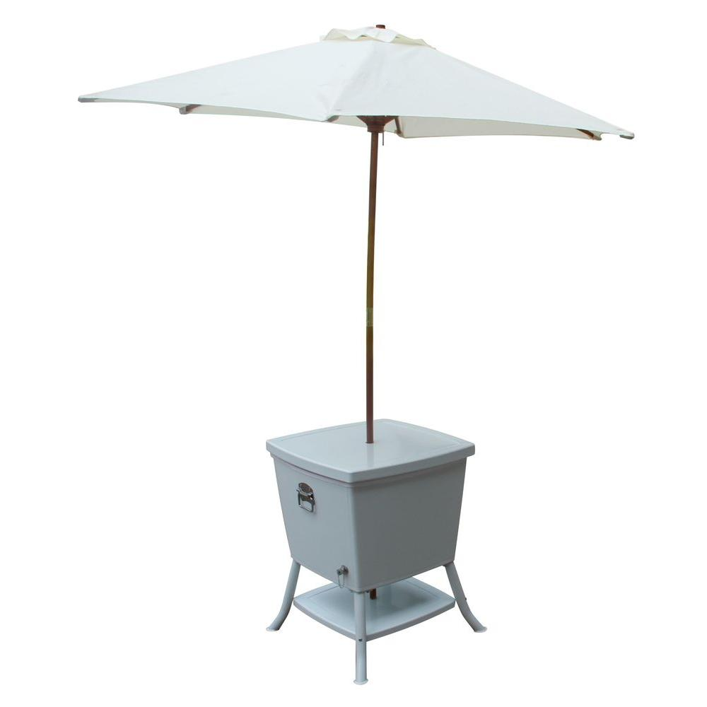 Patio Umbrella With Table: Leisure Season 24 In. Square Steel Cooler Patio Table With