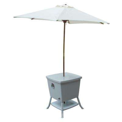 24 in. Square Steel Cooler Patio Table with Umbrella