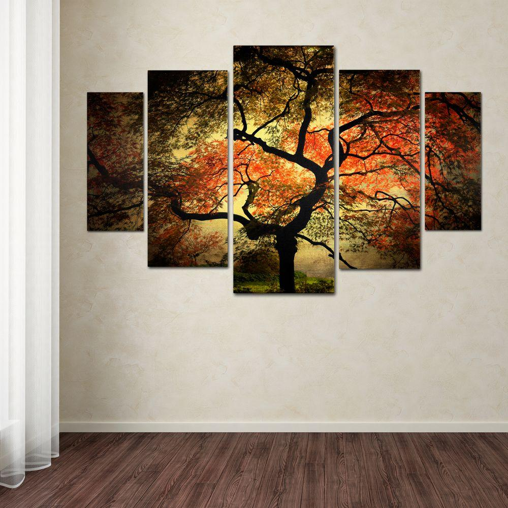 Wonderful Trademark Fine Art Japanese By Philippe Sainte Laudy 5 Panel Wall Art Set