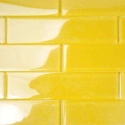 Contempo Yellow 2 in. x 8 in. x 8mm Polished Glass Floor and Wall Tile (1 sq. ft.)