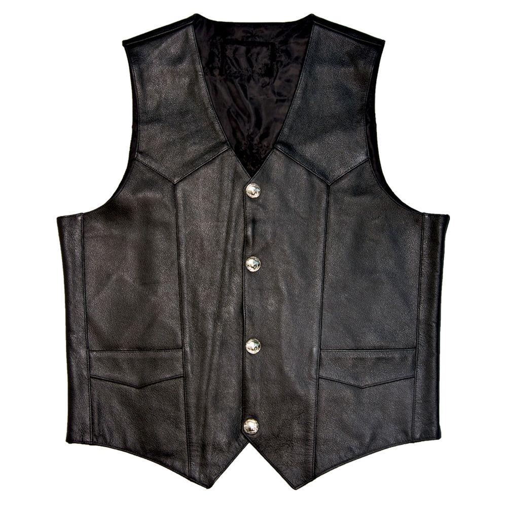 Mossi Mens Buffalo Size 48 Black Nickel Vest-DISCONTINUED