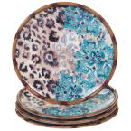 Exotic Jungle 4-Piece Patterned Multi-Colored Earthenware 10.75 in. Dinner Plate Set (Service for 4)