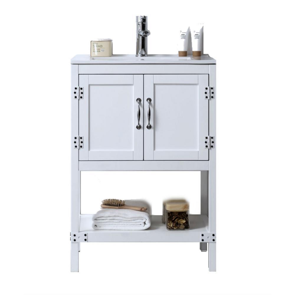 24 in. Vanity in Matt White with Ceramic Top in White with White Basin