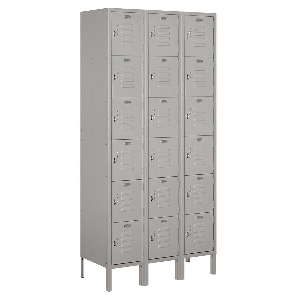 66000 Series 36 in. W x 78 in. H x 15 in. D 6-Tier Box Style Metal Locker Unassembled in Gray