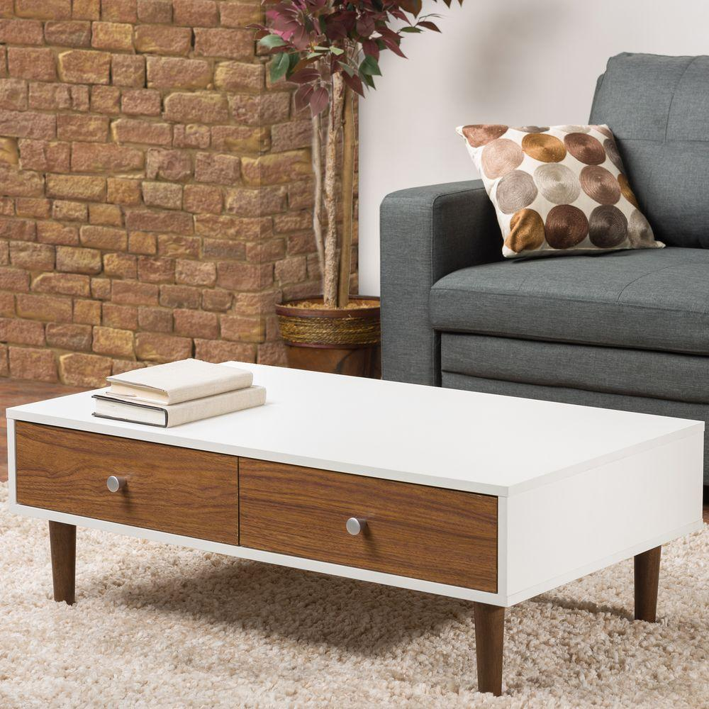 Adal Walnut and White Coffee Table & Safavieh Rockford White Coffee Table-FOX2215A - The Home Depot