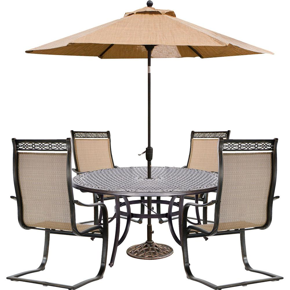 Manor 5 Piece Aluminum Outdoor Dining Set With Cast Top Table, 4 Contoured  C Spring Chairs, Table Umbrella And Stand