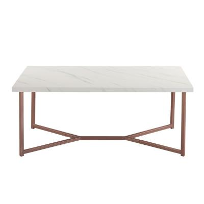 White Marble Top Modern Coffee Table with Rose Golden Legs