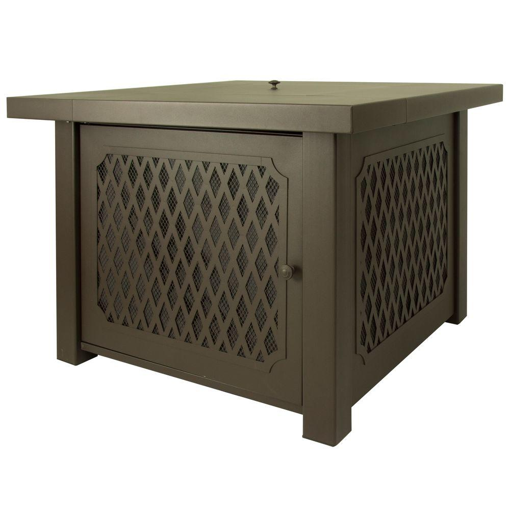 Lattice Gas Fire Pit Table In Bronze
