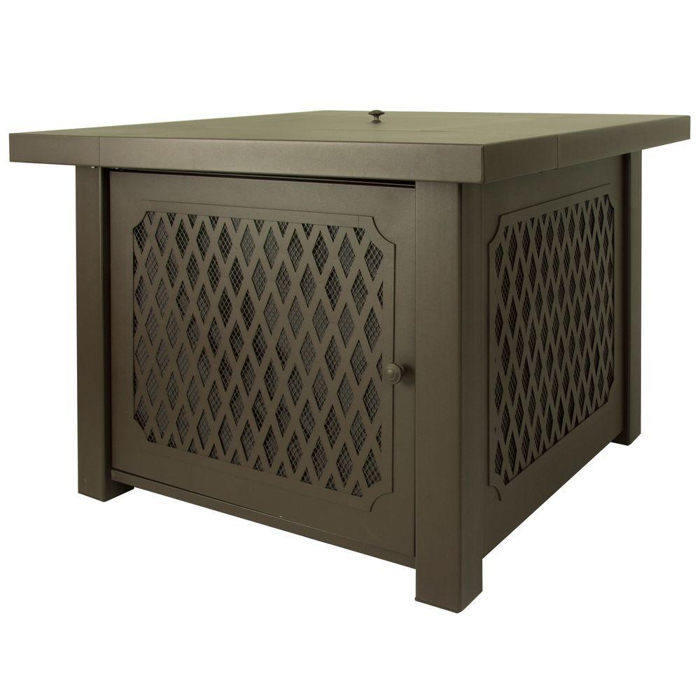 Huxley 38 in. Lattice Gas Fire Pit Table in Bronze