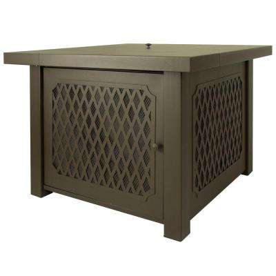 Huxley 38 in. Lattice Gas Fire Pit Table in Bronze