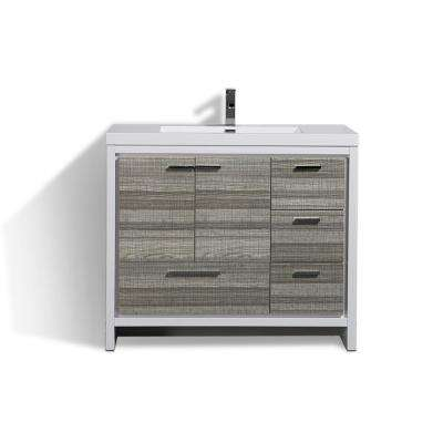 Dolce 42 in. W Bath Vanity in High Gloss Ash Gray w/ Reinforced Acrylic Top in White w/ White Basin & Right Side Drawers