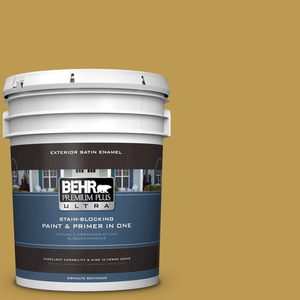 Behr Premium Plus Ultra 5 Gal M320 6 Tangy Green Satin Enamel Exterior Paint 985305 The Home