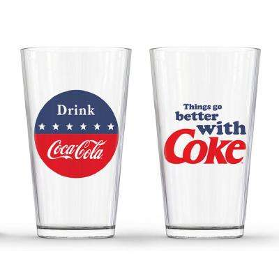 Red White and Blue Pub Glass (Set of 2)