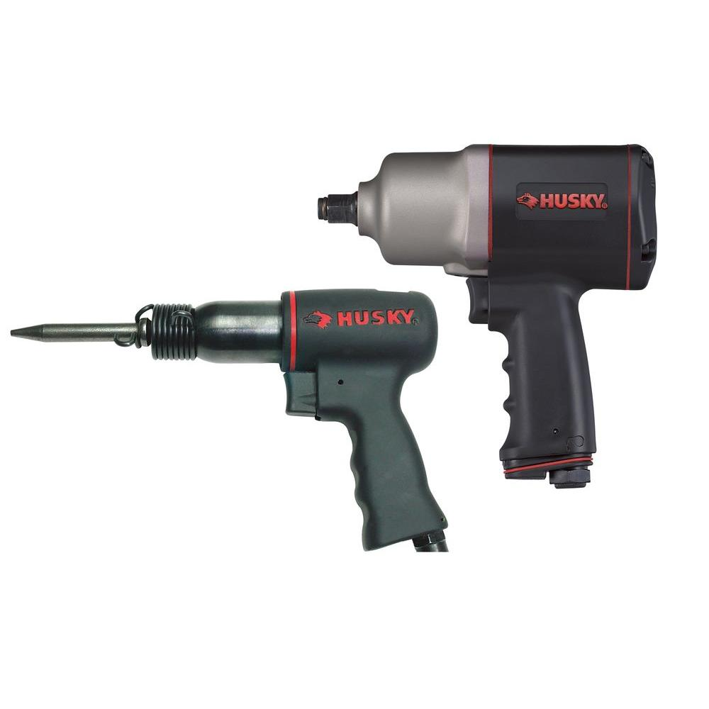 Husky 2-Piece Air Tool Kit with 1/2 in. Air Impact Wrench (650 ft./lbs. of Torque) and Medium Barrel Air Hammer-DISCONTINUED
