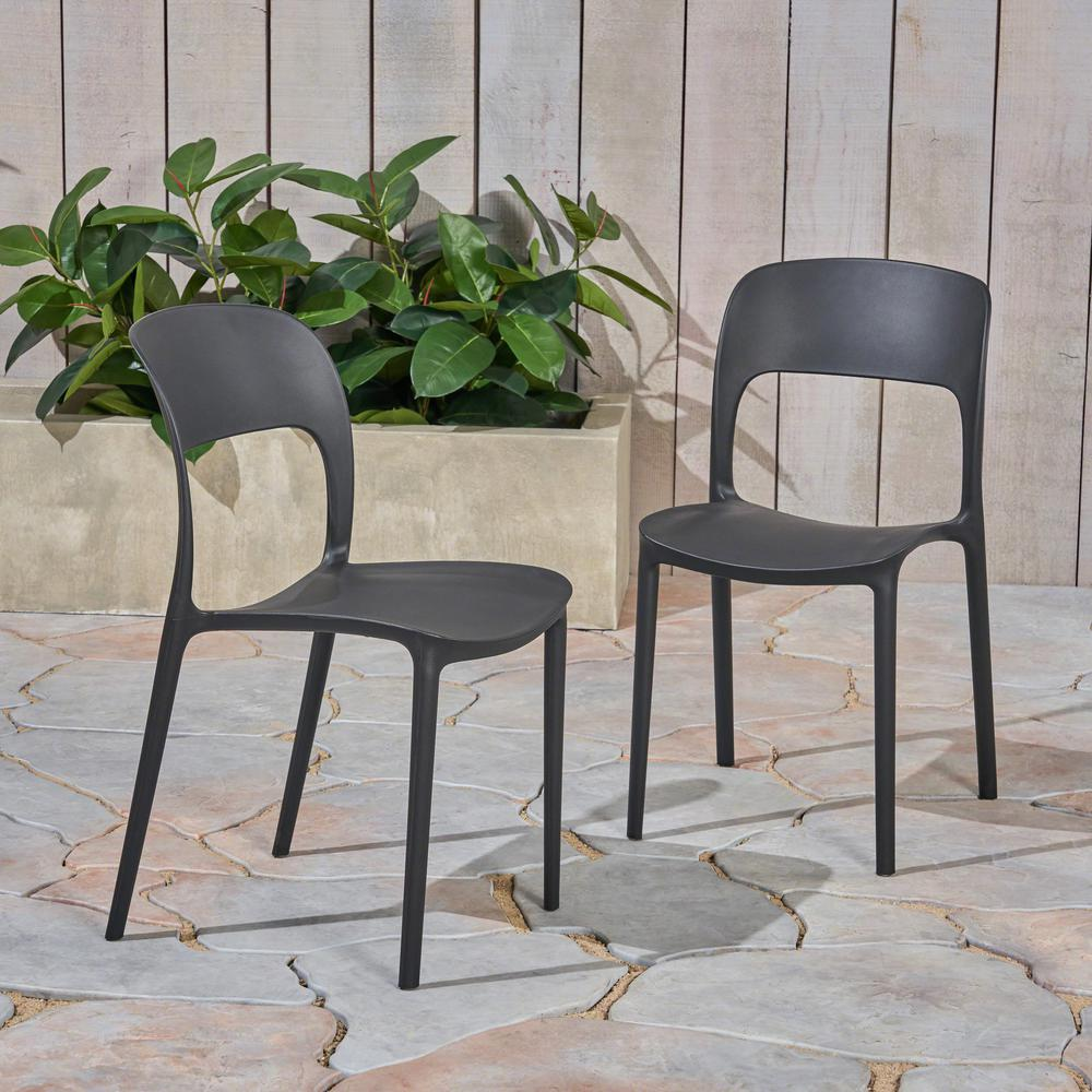 Katherina Black Armless Plastic Outdoor Dining Chairs (2-Pack)
