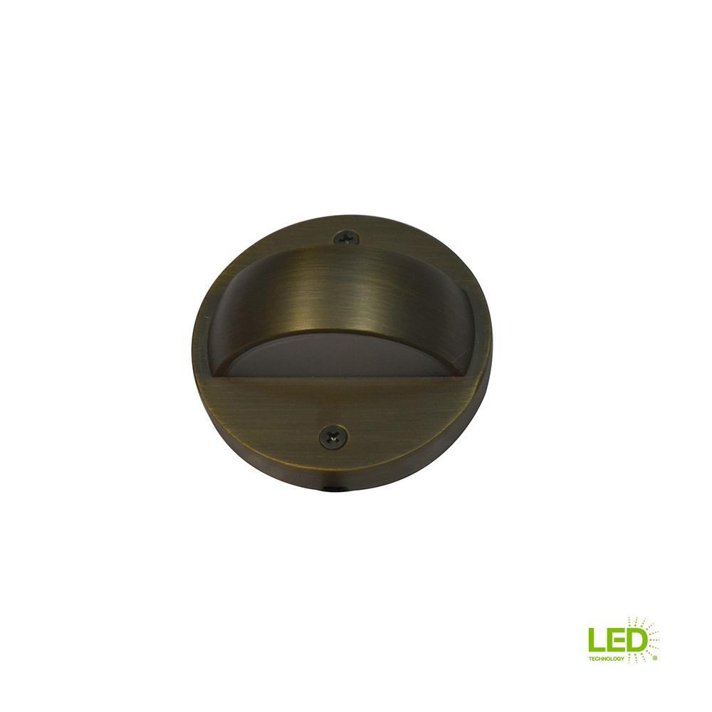 6-Watt Brass Outdoor Integrated LED 2700K White Warm Landscape Deck Light