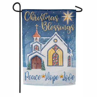 18 in. x 12.5 in. Christmas Blessings Garden Suede Flag